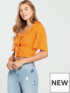 miss-selfridge-angel-sleeve-crop-top-orange