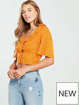 miss-selfridge-angel-sleeve-crop-top-orange