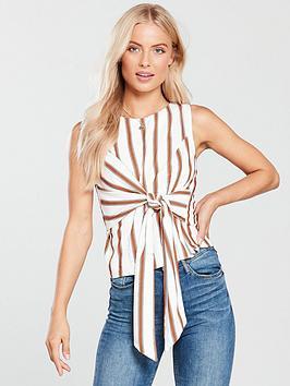 miss-selfridge-tie-front-shell-top-stripe