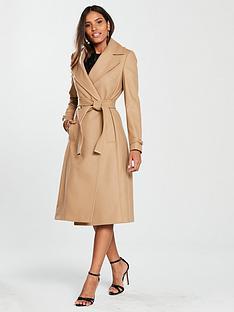 karen-millen-wool-blend-wrap-coat-camel