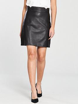 karen-millen-pin-stud-leather-mini-skirt-black