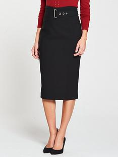 karen-millen-buckle-detail-corset-pencil-skirt-black