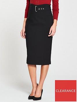 karen-millen-buckle-detail-pencil-skirt-black