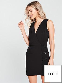 miss-selfridge-button-wrap-dress-black