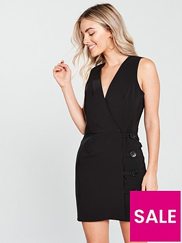 miss-selfridge-button-wrap-dress-black