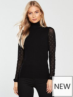 karen-millen-sheer-stud-sleeve-jumper