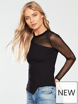 karen-millen-mesh-sleeve-wrap-top-black