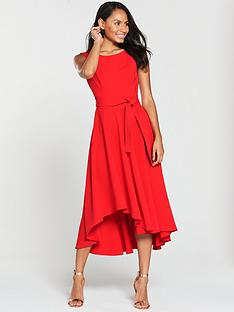 karen-millen-asymmetric-belted-dress-red
