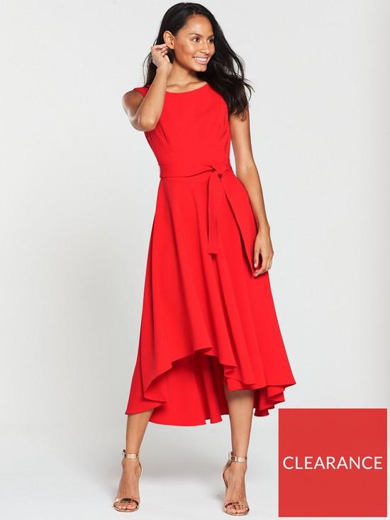 9b91b18cbd KAREN MILLEN Asymmetric Belted Dress - Red   very.co.uk