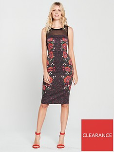 66d78fc8c36 KAREN MILLEN Signature Stretch Floral Mesh Detail Dress - Black