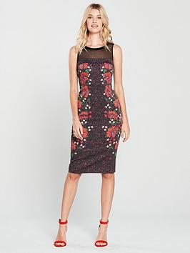 karen-millen-signature-stretch-floral-mesh-detail-dress-blacknbsp