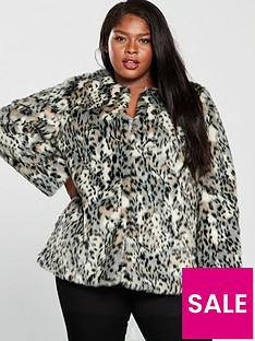 7bfe19bc879 V by Very Curve Faux Fur Coat - Leopard