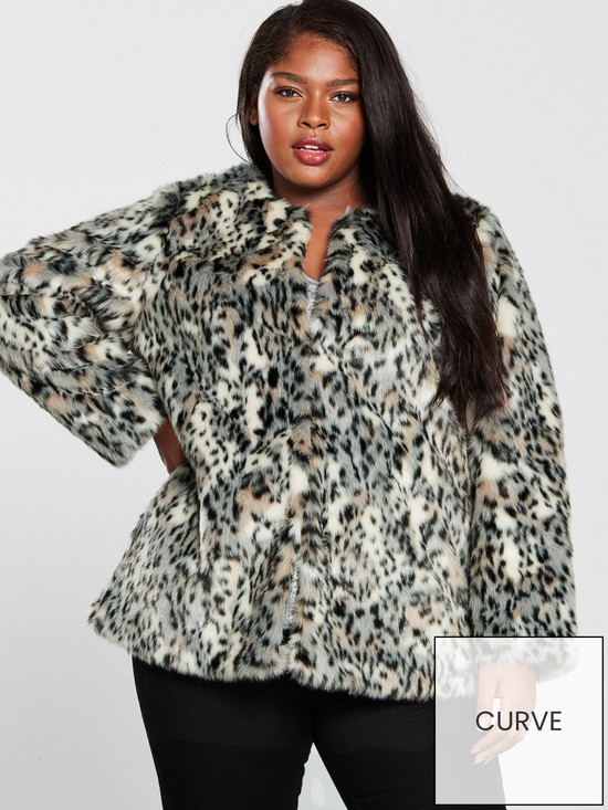 253297691c2 V by Very Curve Faux Fur Coat - Leopard