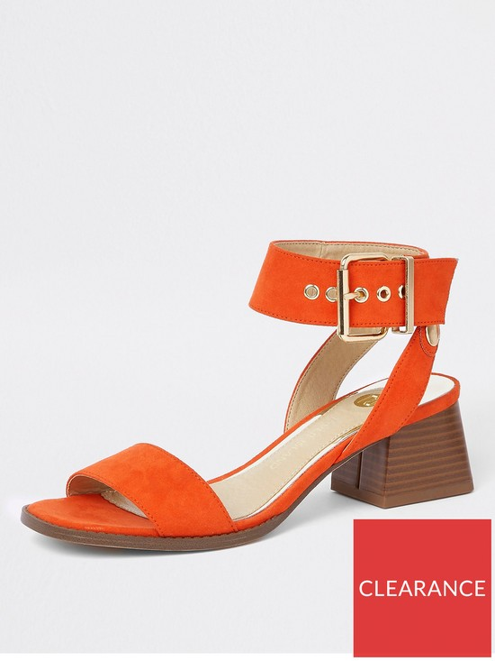 b0a35937ba6 River Island Block Heel Sandal - Orange
