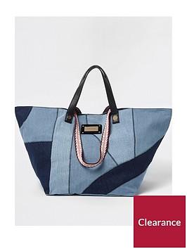 river-island-river-island-patchwork-denim-oversized-beach-bag