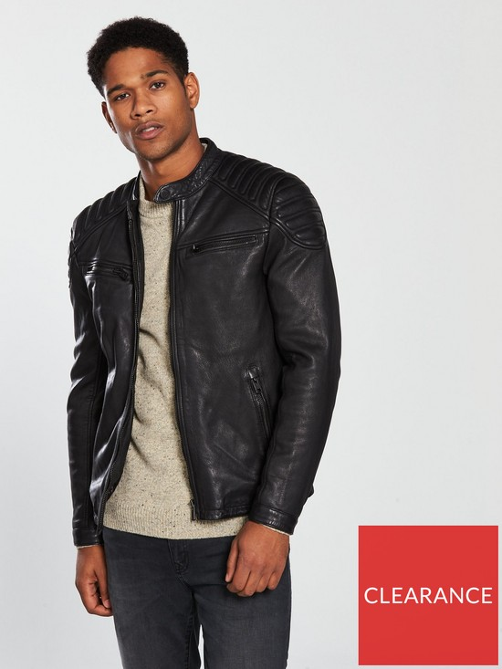 f44817949 Superdry New Hero Leather Racer   very.co.uk