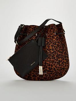 Karen Millen Animal Print Pony Hobo Bag
