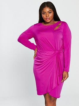 v by very curve slinky jersey dress - hot pink