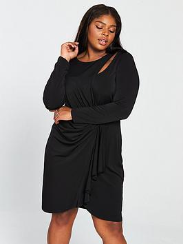 v by very curve slinky jersey dress - black