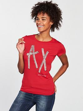 armani-exchange-logo-sequin-t-shirt-red