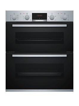 Bosch Serie 4 Nbs533Bs0B Built-Under Electric Double Oven With 3D Hotair - Stainless Steel