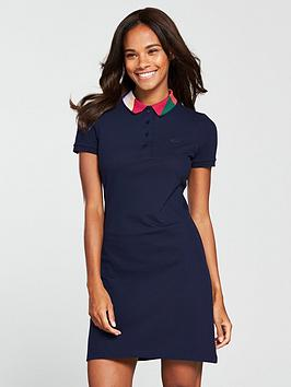 Lacoste Polo Dress With Geo Block Collar - Navy Blue