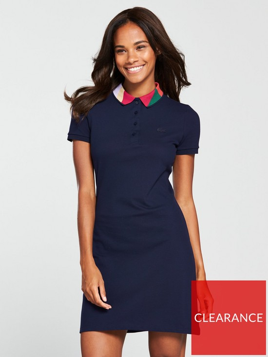 8a4dd2d7e4b2 Lacoste Polo Dress With Geo Block Collar - Navy Blue