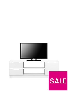 Ideal Home Bilbao Ready Assembled High Gloss TV Unit - White - fits up to 65 inch TV