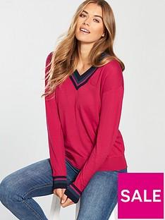 lacoste-v-neck-sweatshirt-red