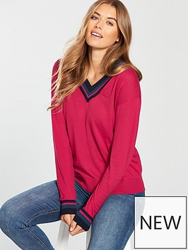 lacoste-v-neck-sweatshirt-red