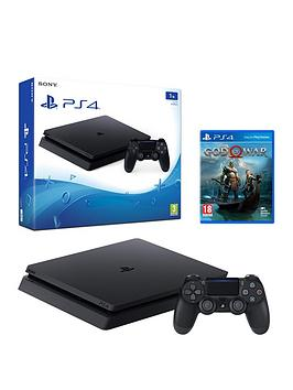 playstation-4-slim-1tbnbspblack-console-with-god-of-war-plus-optional-extra-wireless-controller-andor-12-months-playstation-network