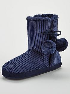 v-by-very-wanda-velvet-cord-slipper-boot-navy