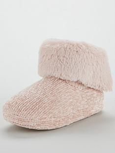 v-by-very-wray-bow-trim-chenille-slipper-boot-pink