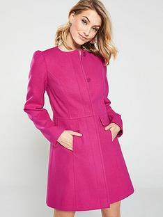 v-by-very-bow-detail-collarless-coat-pinknbsp