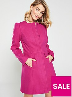 V by Very Bow Detail Collarless Coat - Pink 95ede43ae