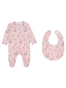 cath-kidston-baby-girls-unicoran-sleepsuit-amp-bib-gift-set