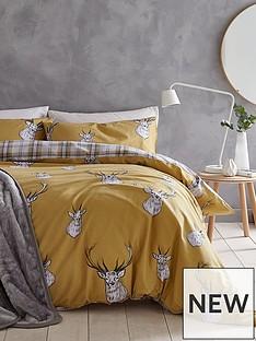 catherine-lansfield-stag-duvet-cover-set-in-ochre