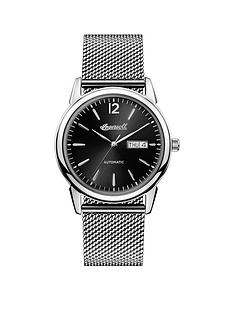 ingersoll-1892-the-new-haven-black-day-date-dial-stainless-steel-milanese-mesh-strap-automatic-mens-watch