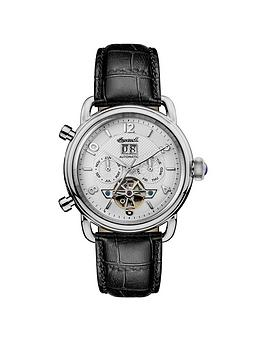 ingersoll-1892-the-new-england-white-and-silver-chronograph-dial-black-leather-strap-automatic-mens-watch