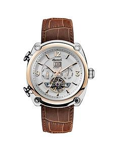 ingersoll-ingersoll-1892-the-michigan-white-rose-gold-and-silver-chronograph-dial-brown-leather-strap-automatic-mens-watch