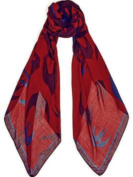 mcq-alexander-mcqueen-swallow-swarm-scarf-red