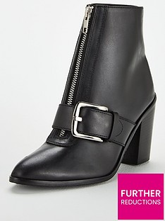 eaa62471a52b1 V by Very Fleur Leather Zip Front Heel Ankle Boot - Black