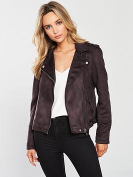 warehouse-suedette-biker-jacket-grey