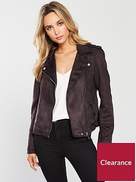 warehouse-suedette-biker-jacket-grey