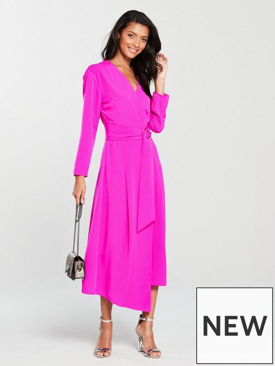 Warehouse O-ring Wrap Midi Dress - Pink   very.co.uk