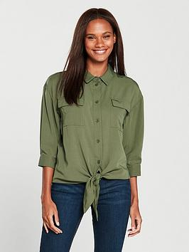 warehouse-plain-tie-front-shirt
