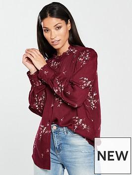 warehouse-bea-ditsy-spring-shirt-dark-red-print