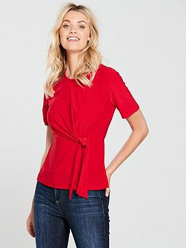 warehouse-tie-front-top-red