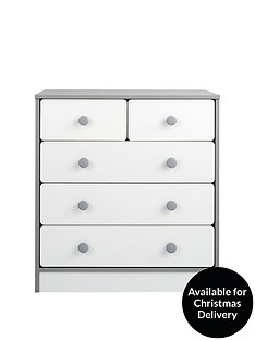 Peyton Kids 3 + 2 Drawer Chest - White/Grey