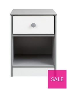 PeytonKids 1 Drawer Bedside Chest - White/Grey